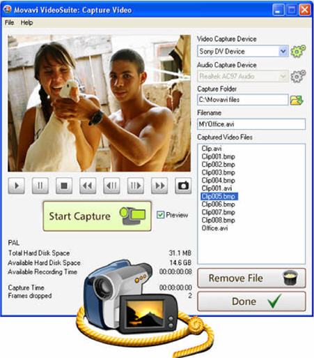 Movavi Video Suite - capture video key features
