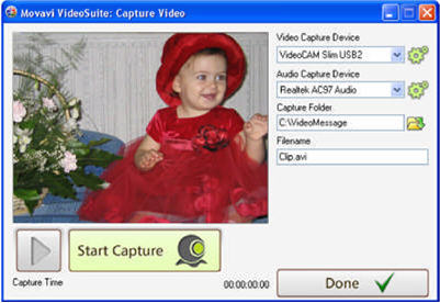 Movavi Video Suite - capture video from webcam and create video postcard
