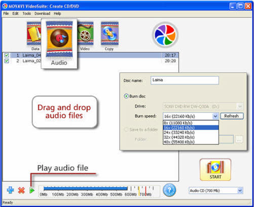 Movavi Video Suite - create audio disc