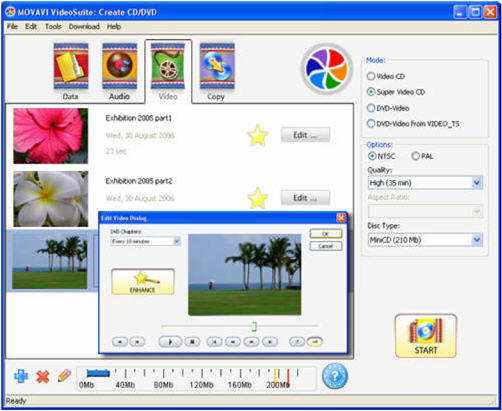 Movavi Video Suite - Create video disc